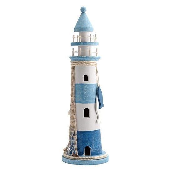 White and blue lighthouse ornament from matalan bathroom shopping