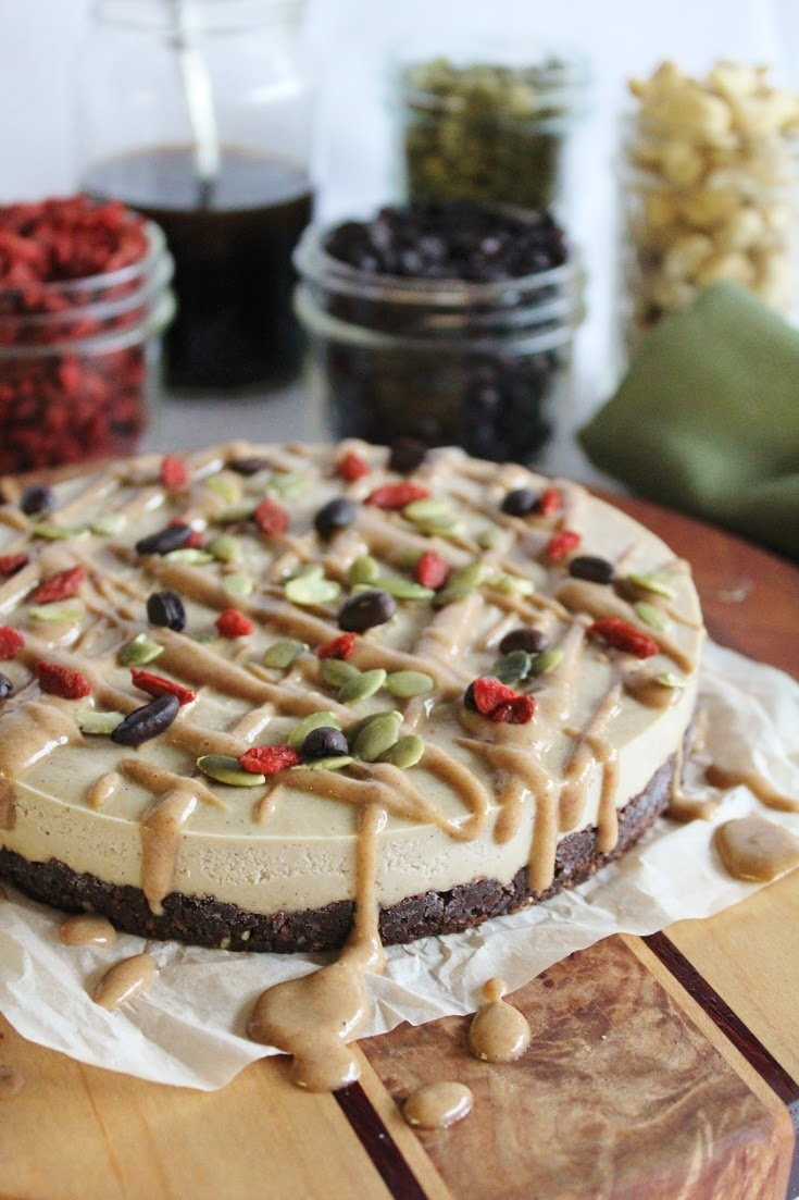 creme pie with a chocolate crust [cashews, vanilla, coconut oil, maple ...