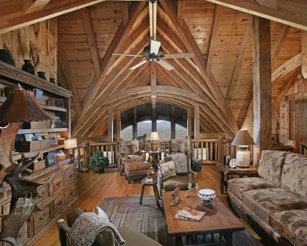 Log Home Design Loft Up At The Cabin Pinterest