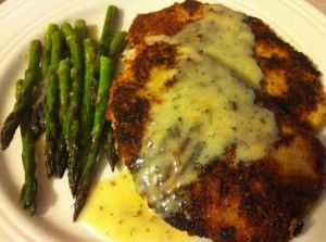 Parmesan Crusted Pork Loin Chops with Roasted Asparagus and Light ...
