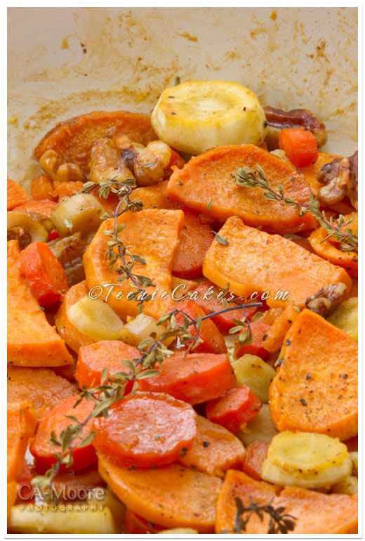 ... ...sweet potatoes, carrots, parsnips, walnuts, honey, evoo, thyme