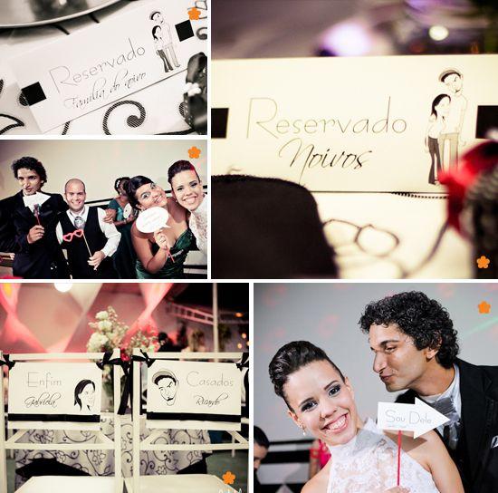 Placas divertidas para casamento, placa de reservado e placa cadeira noivos. | Plates for wedding, card reserved and board chair Grooms.
