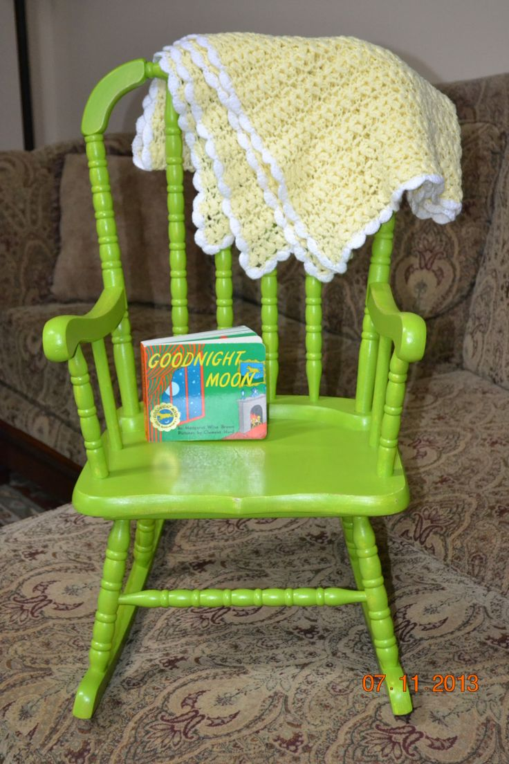 Lime green painted children s rocking chair