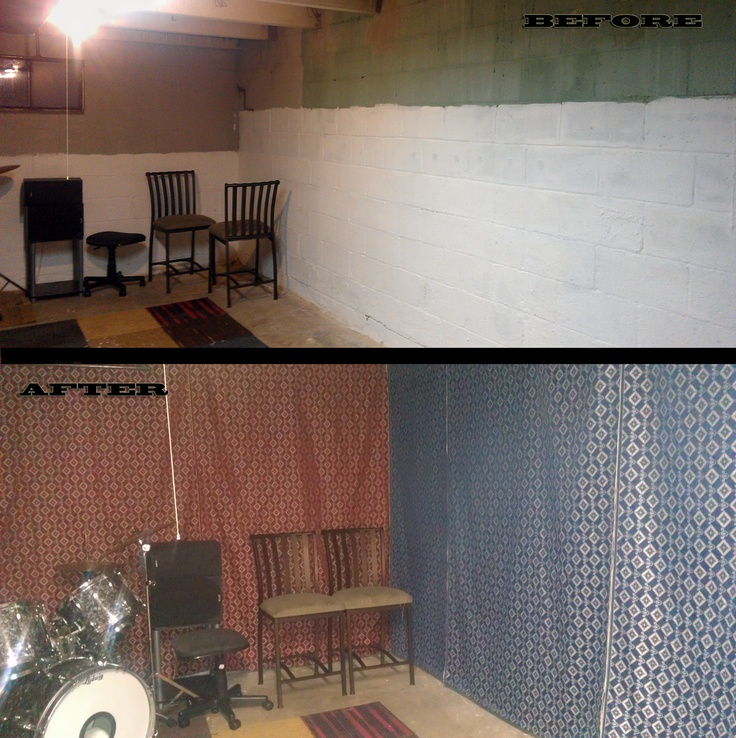 basement redo on the cheap hang fabric walls to make the space feel
