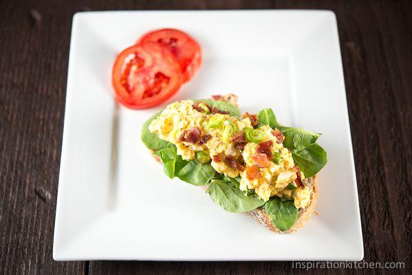Open-Faced Egg Salad Sandwiches with Arugula, Bacon & Sriracha ...
