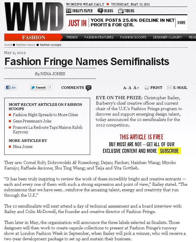 Fashion Fringe Semi Finalists announcement - WWD