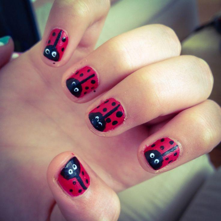 Ladybug nail art | Nails :) | Pinterest