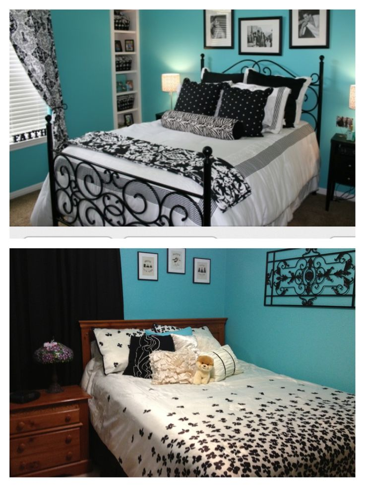 Black white and teal bedroom for the home pinterest for Bedroom ideas teal