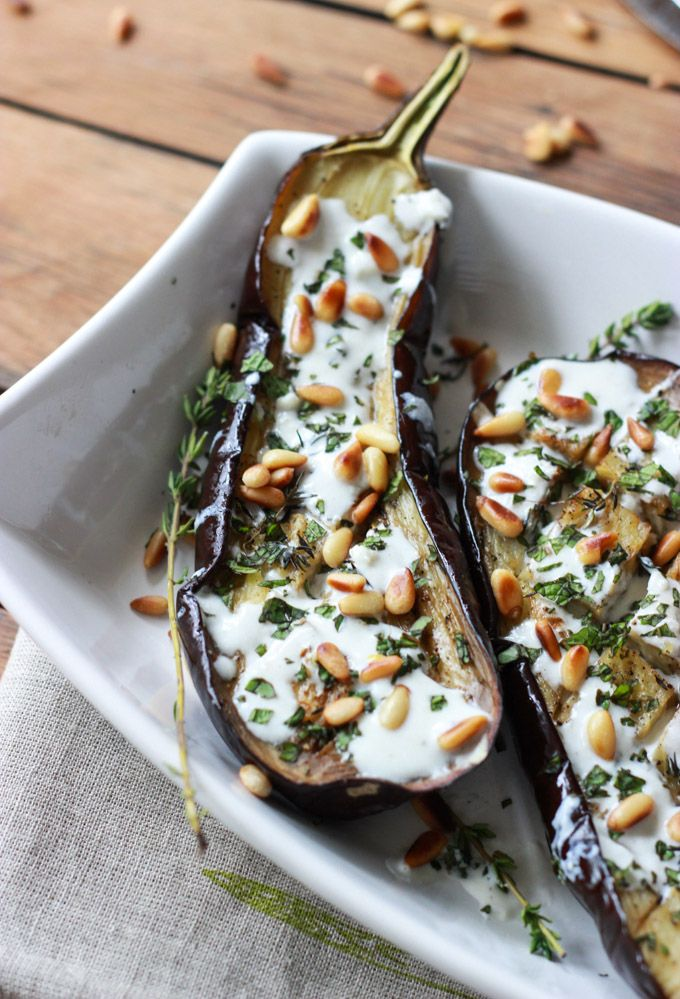 Roasted Eggplant with Buttermilk Sauce, Mint, Basil and Pine Nuts | R ...