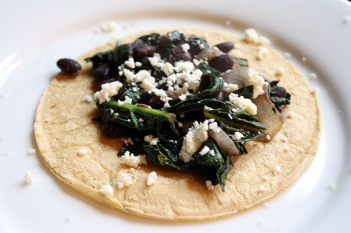 Black bean and kale tacos. I eat these tacos, hmm, maybe once a week ...