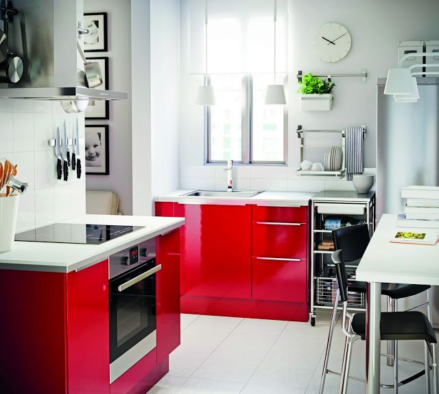 Bright red Ikea cabinets  {kitchen design}  Pinterest