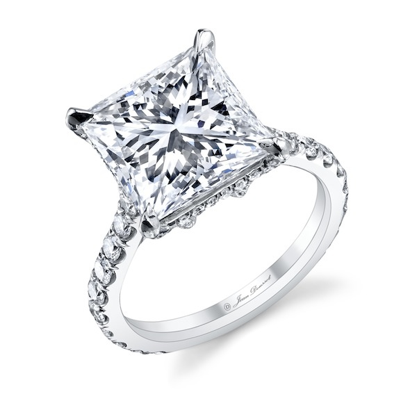 RIVIERA Princess Cut Diamond Engagement Ring set in Platinum with ...