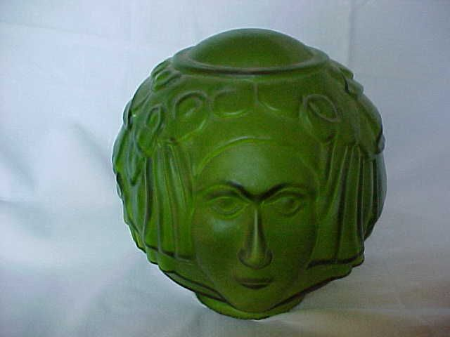 beautiful art deco green glass lamp shade with woman 39 s face. Black Bedroom Furniture Sets. Home Design Ideas