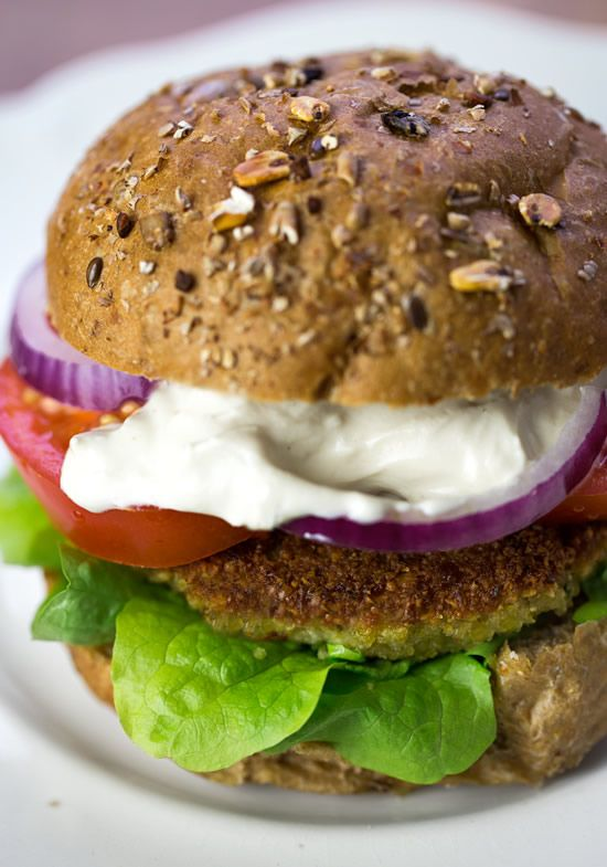 Falafel Burgers with Yogurt-Tahini Sauce #recipe http://mediterrasian ...