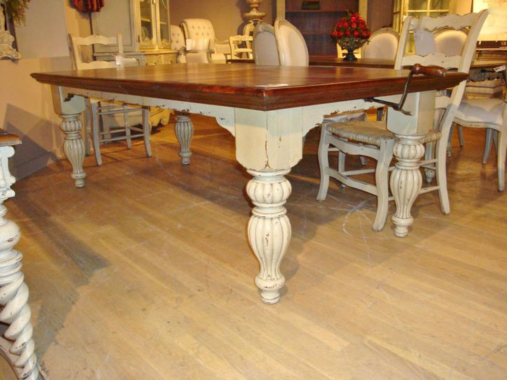 Distressed White Farmhouse Dining Table French Country 108 5 Long Cr