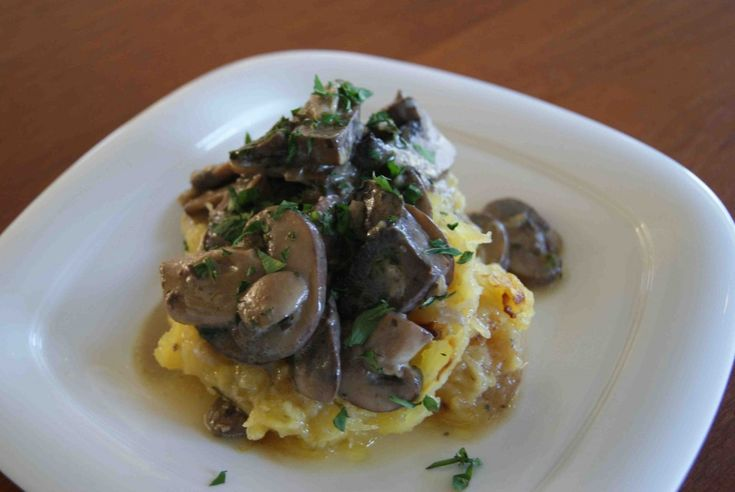 Roasted Spaghetti Squash with Herb Mushroom Sauce - Can't wait to make ...