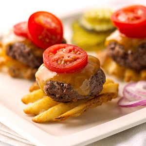 Adorable burger appetizer -- Tiny patty on a waffle fry with cheddar and a slice of cherry tomato! | simplecreativeinsanity.blogspot.com