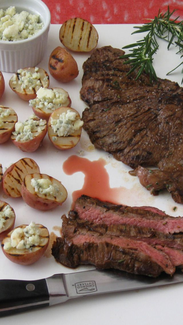 Worcestershire Grilled Skirt Steak With Blue Cheese ...