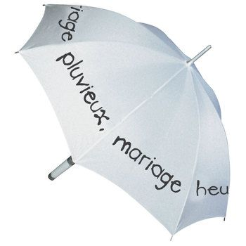 """Parapluie Ze P'Brok """"mariage pluvieux, mariage heureux"""" Blanc"""