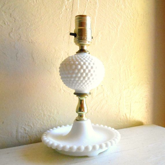 vintage white milk glass lamp and metal electric hobnail