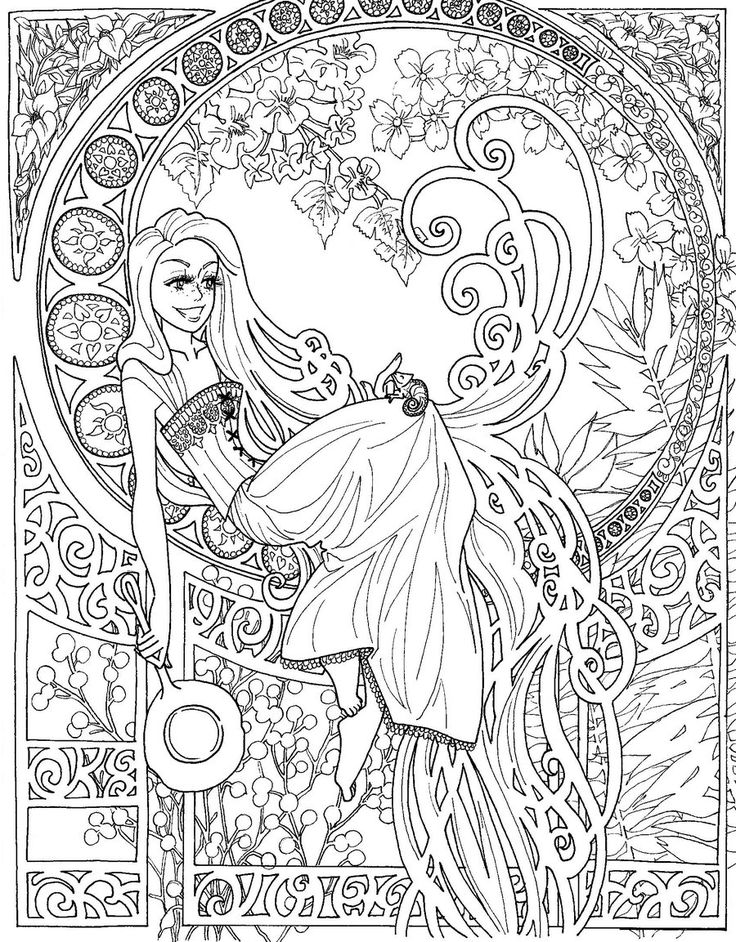 Tangled Art Nouveau Free Coloring Page Children Pinterest along with ...