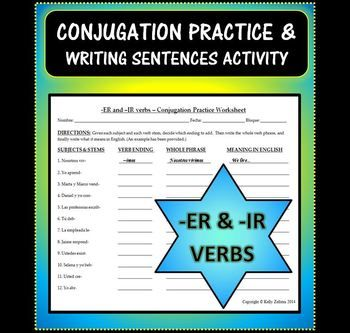 worksheet that's perfect for practicing conjugating -ER and -IR verbs ...
