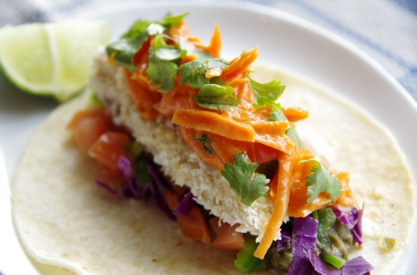 Fish tacos with crispy panko-crusted baked fish, salsa, cheese, and ...