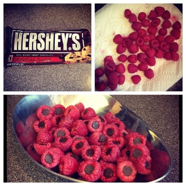 Such a good simple idea. Raspberries stuffed with Chocolate-Chips ...