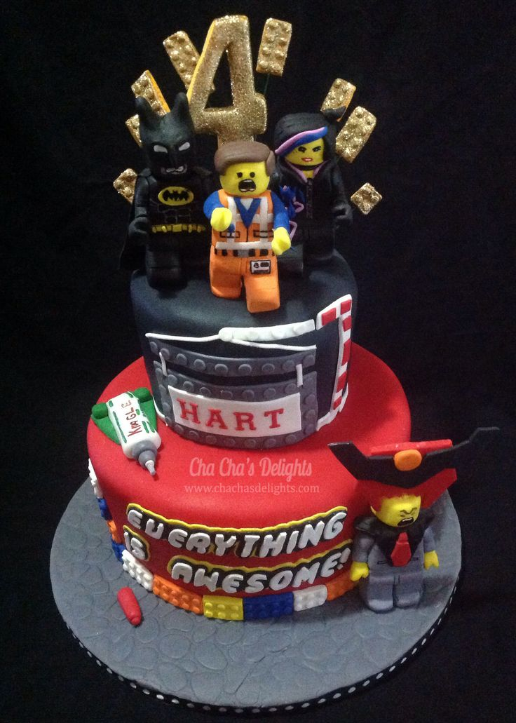 Lego Movie Cake - Top-cream cheese pound cake filled with cream cheese ...