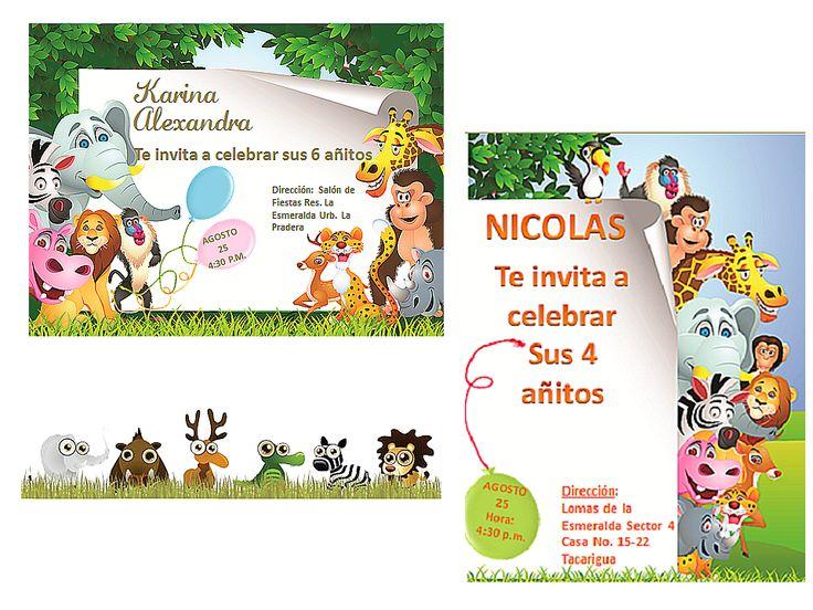 Kit imprimible tarjetas de invitacion cumplea os safari for Muebles los leones valencia