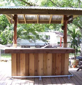 Build your own tiki bar outside projects pinterest for Diy balcony bar
