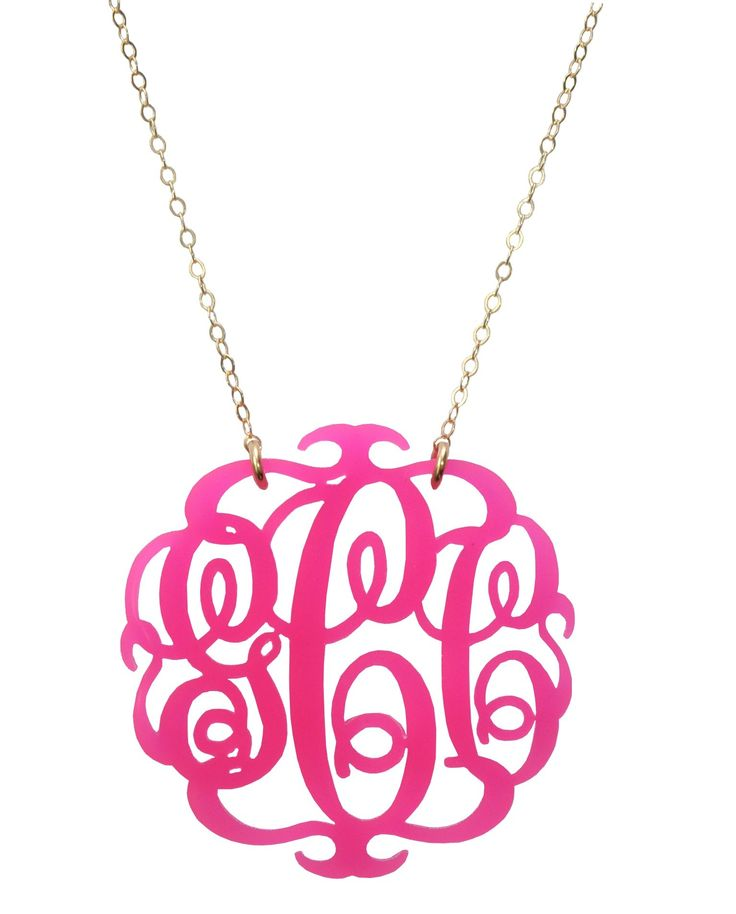 Acrylic Script Monogram Necklace by Moon and Lola | Charm & Chain
