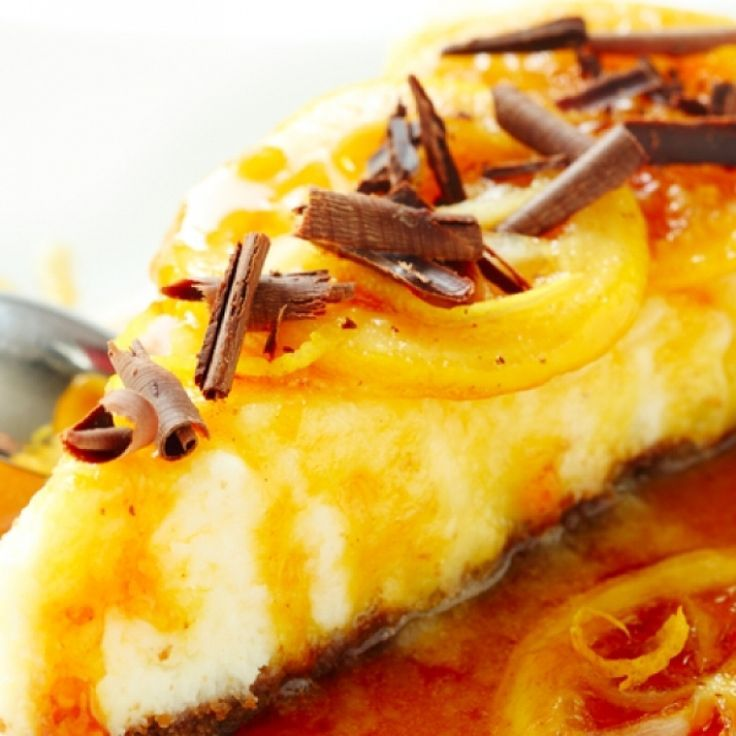 Delicious recipe for cheesecake with caramel orange sauce..