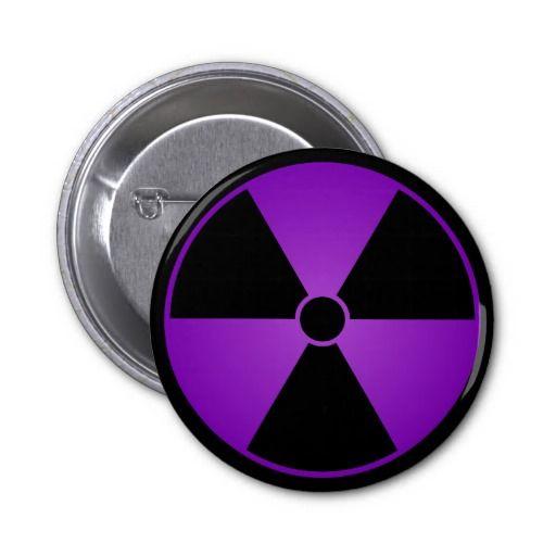 Purple Radiation Symbol Button
