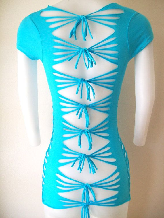 womens turquoise cut shirt sexy cuts blank t size small me