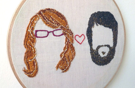 Boy Meets Girl Custom Embroidered Portrait $76 by Il Gatto Selvatico #embroidery #walls #wedding #custom #gifts