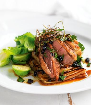 Duck breast fillets on poached leeks with currants recipe | In Season ...