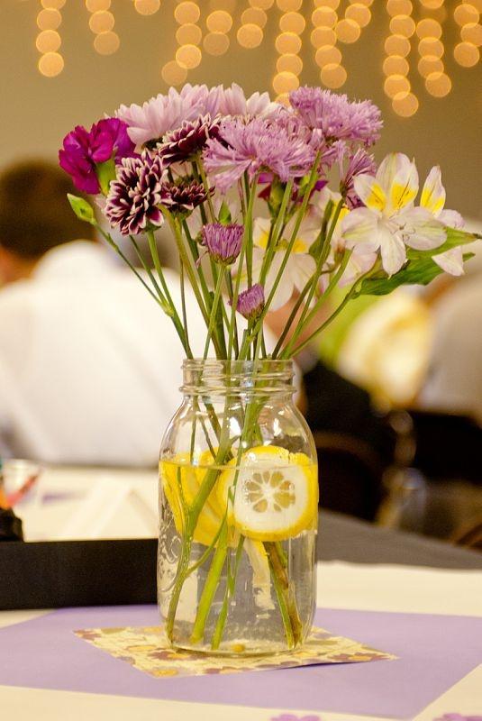 Mason Jars Lemon Slices And Random Flower Bunches From Kroger
