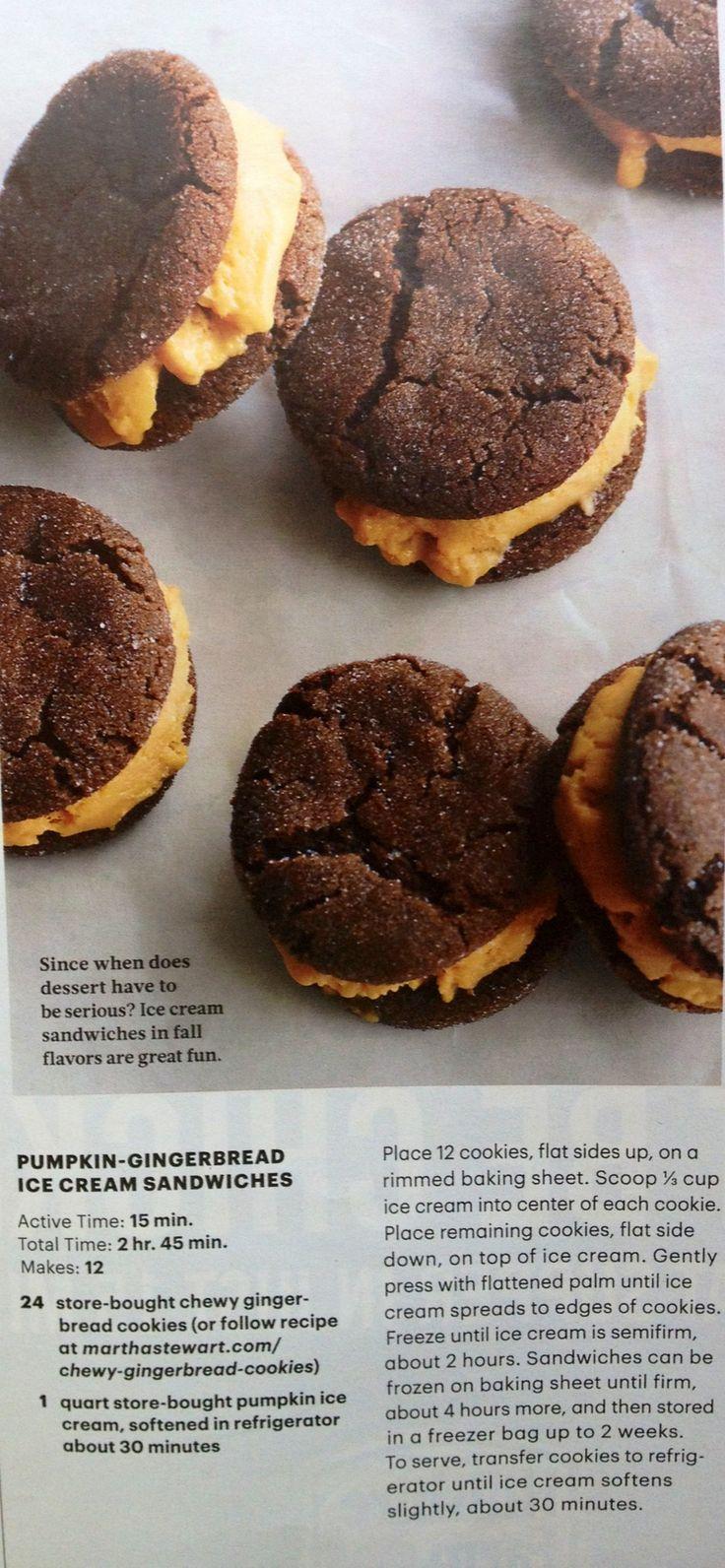 Pumpkin-gingerbread Ice cream Sandwiches | Martha Stewart Living | Oct ...