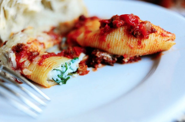 Three Cheese-Stuffed Shells with Meaty Tomato Sauce | Recipe