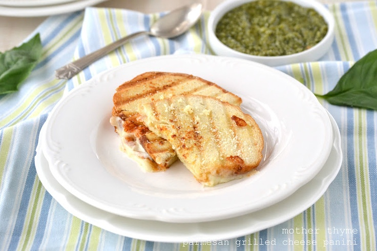 Mother Thyme: Parmesan Grilled Cheese Panini with Basil Pesto Dipping ...
