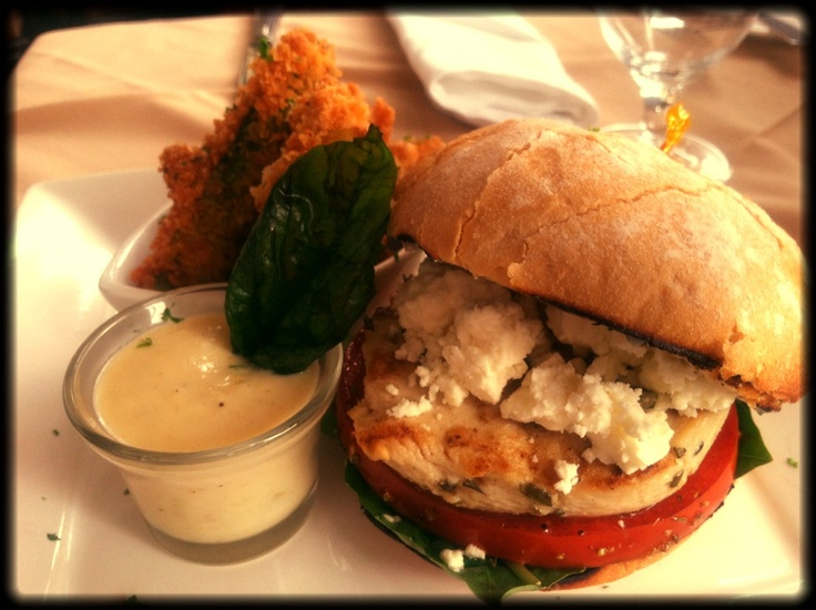 chicken sandwich with spinach & basil, balsamic marinated tomato, feta ...