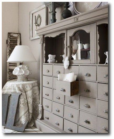 Dreamy  Gray Painted Cabinet