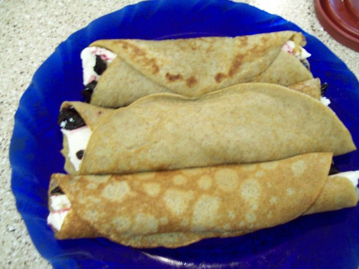 ... honey crepes filled with neufchatel-honey frosting and raspberry jam