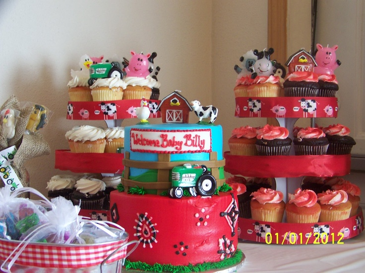 farm baby shower cake and cupcakes baby shower pinterest