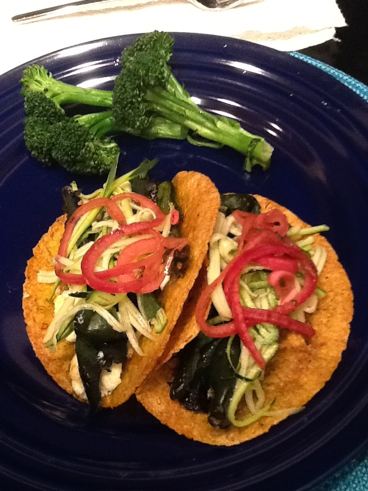 Veggie Tacos on sprouted corn tortillas, with fire roasted poblano ...