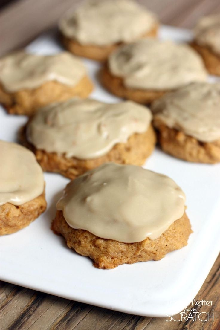 Pumpkin Cookies with Caramel Frosting - Tastes Better From Scratch