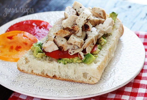 Open Faced Grilled chicken, tomato & avocado sandwich on ciabatta ...