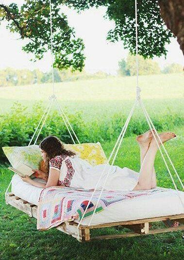 Custom made hanging pallet bed hammock swing indoor for Outdoor pallet swing bed