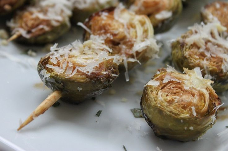 ... Balsamic-Glazed Brussels Sprouts with Crushed Pine Nuts and Parmesan